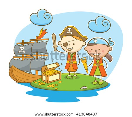Doodle illustration: Kids role as pirate finding treasure on island - stock vector