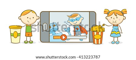 Doodle illustration: Kids watching movie from a mobile device - stock vector