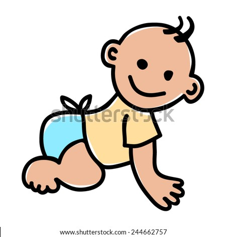 Doodle illustration of a baby - stock vector