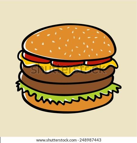 Doodle illustration of a hamburger - stock vector