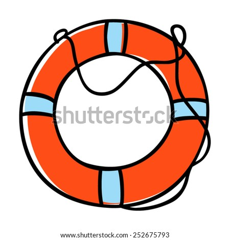 Doodle illustration of a lifebuoy - stock vector