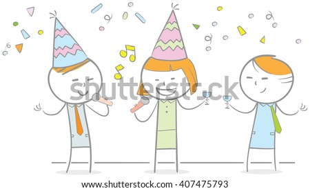 Doodle illustration of business people in a party - stock vector