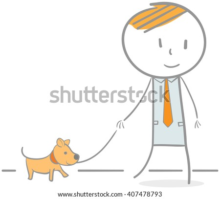 Doodle illustration of businessman walking with dog - stock vector