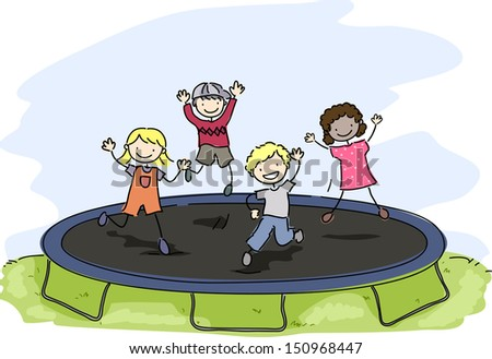 Doodle Illustration of Kids Playing with a Trampoline - stock vector