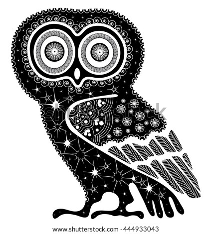 Doodle illustration on an owl. Black and white tattoo of on a white background.   - stock vector