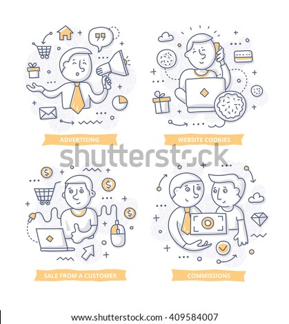 Doodle illustrations of promoting companies products for commission. Concepts of affiliate marketing for telling brand story, explaining how-it-works process, showing company features - stock vector