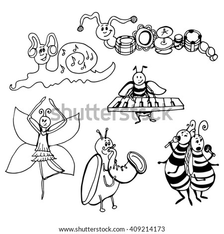 Doodle insects musicians. Butterfly - ballet dancer. black and white graphics - stock vector