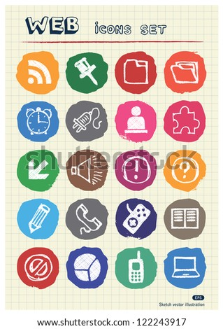 Doodle Internet web icons set drawn by chalk. Hand drawn vector elements pack isolated on paper - stock vector