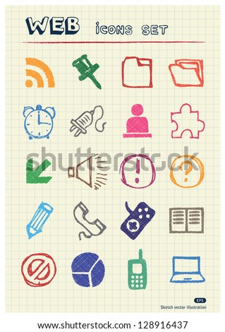 Doodle Internet web icons set drawn by color pencils. Hand drawn vector elements pack isolated on paper - stock vector