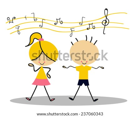 Doodle Kids Singing - Full Color - stock vector
