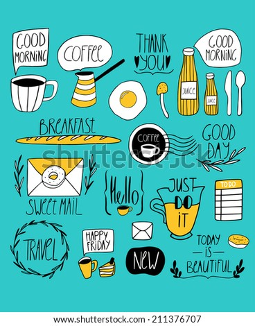 Doodle kitchen art print. Cute little vector elements with handwritten text - stock vector