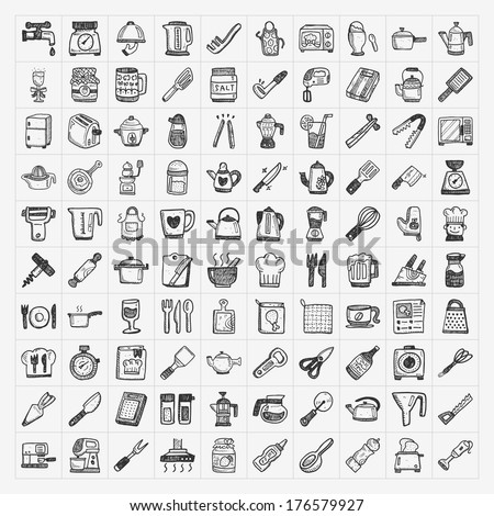 doodle kitchen icons - stock vector