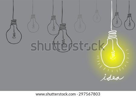 Doodle Lamp - Idea   - stock vector