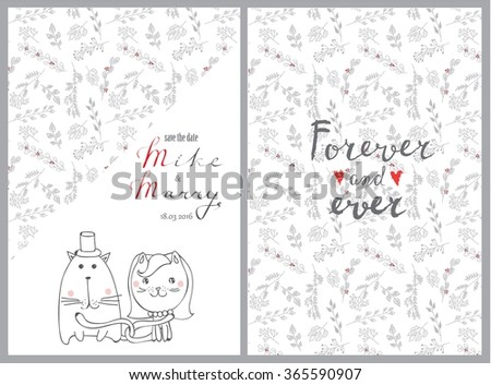 Doodle line design of web banner template with outline cartoon wedding icons. Wedding invitation and wedding card - stock vector