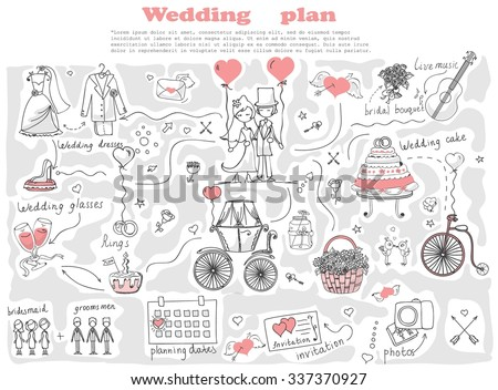 Doodle line design of web banner template with outline cartoon wedding icons. Wedding Planner Icons and Infographics. - stock vector