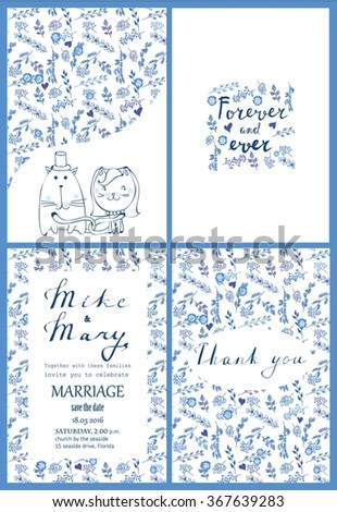 Doodle line design of wedding invitation, cards with floral elements and lettering - stock vector