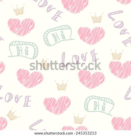 Doodle love seamless pattern with hearts, crown and speech bubble - stock vector