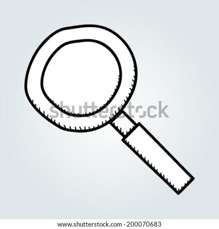 Doodle magnifier - stock vector