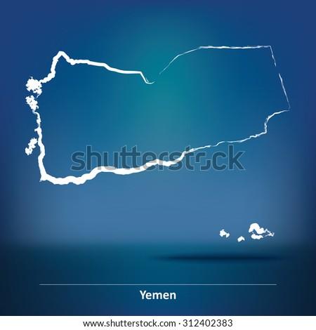Doodle Map of Yemen - vector illustration - stock vector