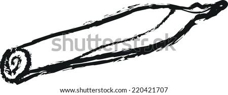 Doodle Marijuana Joint isolated on white - stock vector