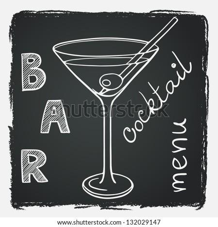 Doodle martini glass on chalkboard background. Vector illustration for restaurant or bar cocktail list. - stock vector