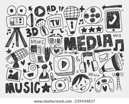 doodle media background - stock vector