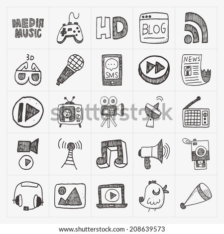 doodle media icons set - stock vector
