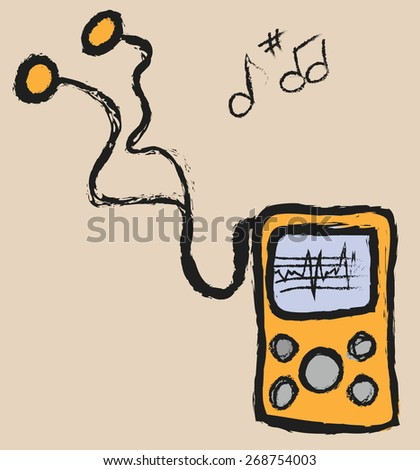 doodle media mp3 player, vector icon - stock vector