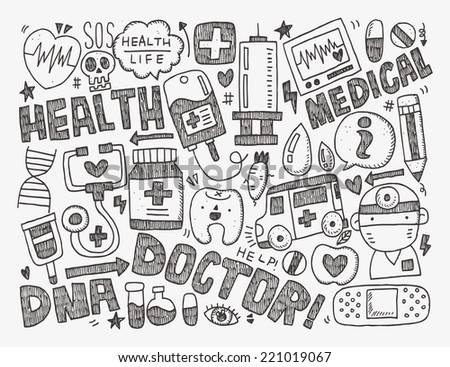 doodle medical background - stock vector