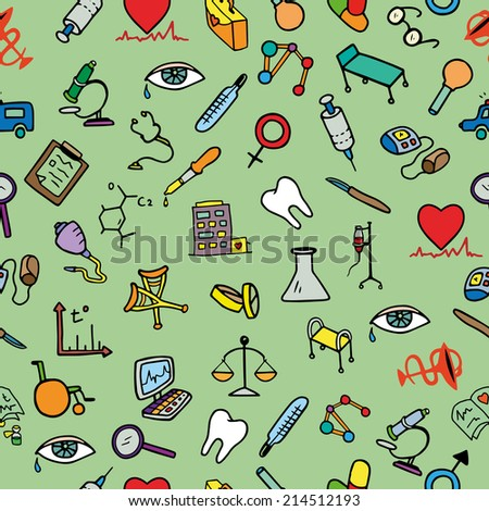 Doodle medical seamless pattern, isolated elements, medicine icons set, vector illustration  - stock vector