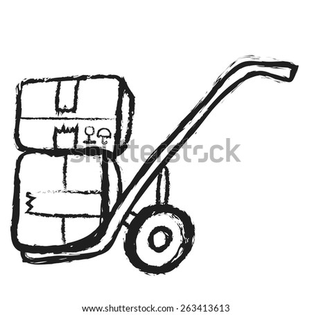 doodle metal hand truck with corrugated cardboard package boxes isolated on white, vector - stock vector