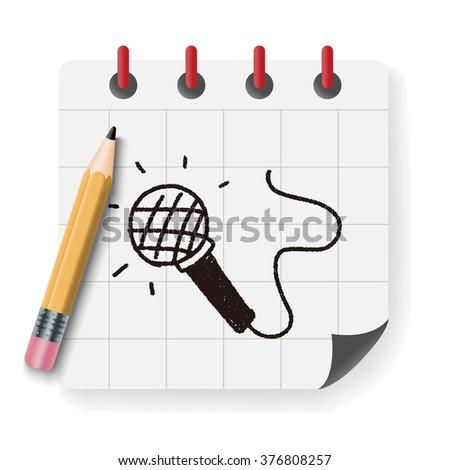 doodle microphone - stock vector