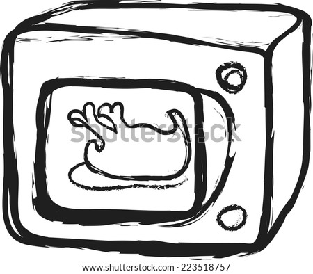 doodle microwave oven and roasted chicken - stock vector