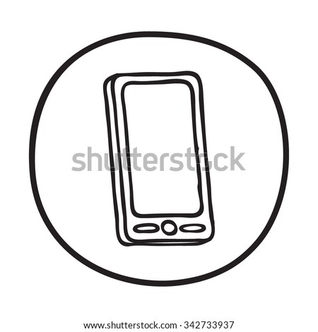 Doodle Mobile phone icon. Blue pen hand drawn infographic symbol on a notepaper piece. Line art style graphic design element. Web button with shadow. Connection, customer service, smartphone concept. - stock vector