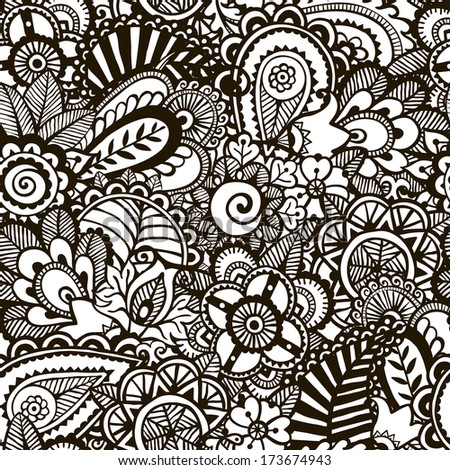 Doodle monochrome print.  Seamless floral background.  EPS 8 vector illustration. - stock vector