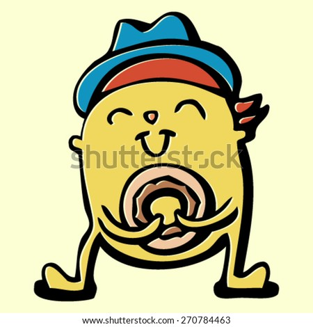 doodle monster, happy smiling creature in hat with donut, colorful crazy character, isolated design element - stock vector