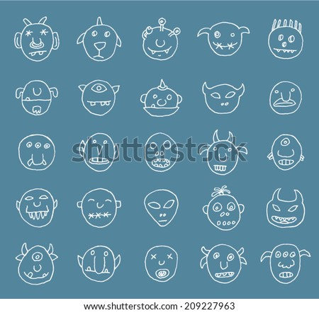 Doodle monster icon, vector illustration. - stock vector