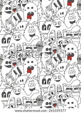 Doodle monsters seamless pattern. Monocromatic vector image - stock vector