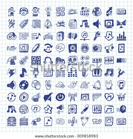 doodle music icons - stock vector
