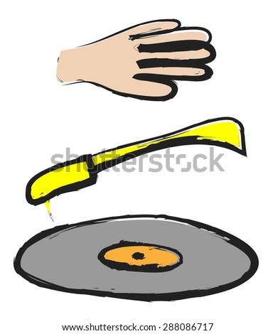 Doodle music, turntable, vinyl LPs, vector illustration - stock vector