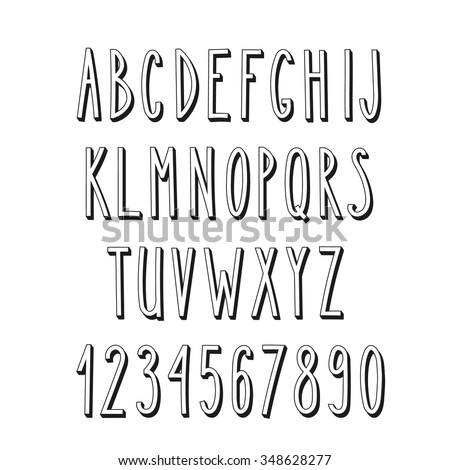 Doodle narrow alphabet, vector simple hand drawn letters thin san serif narrow 3d font. Decorative font for books, posters, postcard, web hand drawn style typography. - stock vector