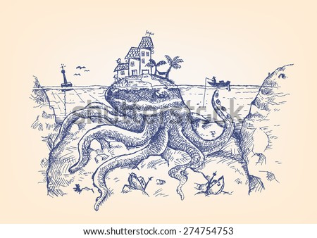 Doodle of a Giant Octopus disguised as an Island  attacks a fisherman. Can be a symbol of Legendary sea monsters like the Kraken and more. Hand drawn pen ink artwork. Editable EPS10. - stock vector