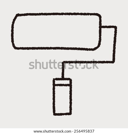 doodle paint roller - stock vector