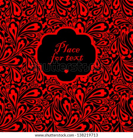 Doodle paisley background with a frame. - stock vector