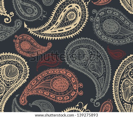 Doodle paisley seamless pattern - stock vector