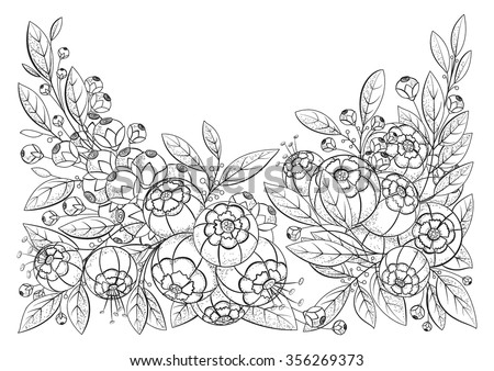 Doodle pattern for coloring book. Vector floral image in black and white. The file has two layers. One layer is a contour line. The second layer contains the shadows in the form of small dots. - stock vector