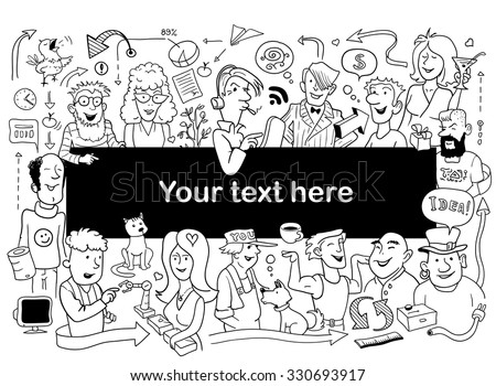Doodle People Frame. Funny Sketch for Your Design. Vector Illustration for Adult Coloring Test - stock vector
