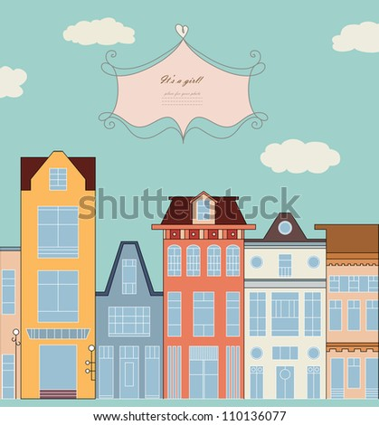 Doodle picture of traditional townhouse on the street for baby card, copybook, frame, gift, children banner, border, print, texture, home book, old style hand drawn vector eps 8 - stock vector