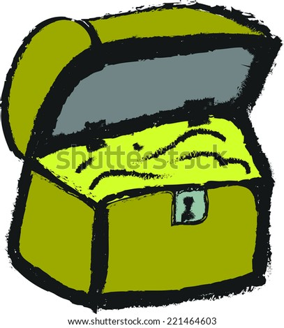 doodle pirate treasure chest - stock vector