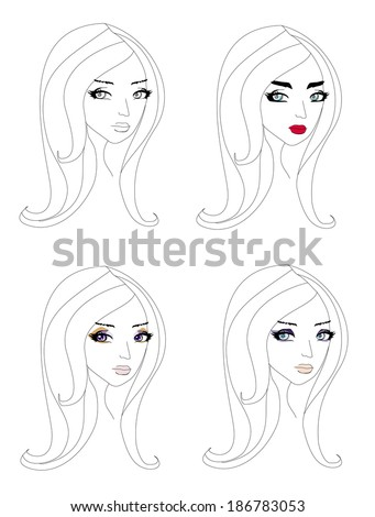 doodle portrait of a girl, different make-up - stock vector